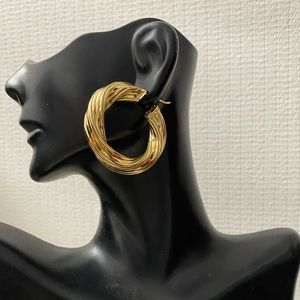 14K Solid Gold Chunky Twister Hoops